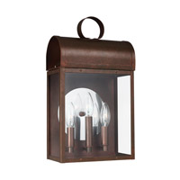 Conroe 3 Light 17 inch Weathered Copper Outdoor Wall Lantern