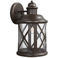 Lakeview 1 Light 14 inch Antique Bronze Outdoor Wall Sconce in Clear Seeded Glass
