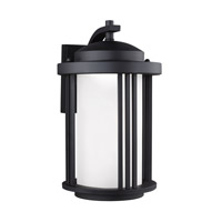 Sea Gull Lighting Crowell LED Outdoor Wall Lantern in Black with Creme Parchment Glass 8747991DS-12