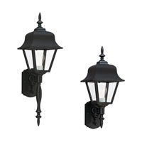 Sea Gull 8765-12 Painted Polycarbonate Lanterns 1 Light 26 inch Black Outdoor Wall Lantern