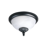 Yorktown 2 Light 13 inch Black Outdoor Flush Mount