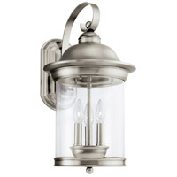 Sea Gull 88083-965 Hermitage 3 Light 20 inch Antique Brushed Nickel Outdoor Wall Lantern
