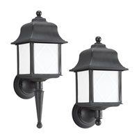 Sea Gull Lighting Harbor Point 1 Light Outdoor Wall Lantern in Black 88113BLE-12