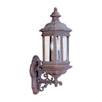Sea Gull Lighting Hill Gate 2 Light Outdoor Wall Lantern in Textured Rust Patina 8838-08