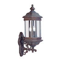Sea Gull Lighting Hill Gate 3 Light Outdoor Wall Lantern in Textured Rust Patina 8839-08