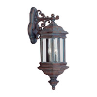Sea Gull Lighting Hill Gate 2 Light Outdoor Wall Lantern in Textured Rust Patina 8840-08