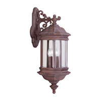 Sea Gull Lighting Hill Gate 3 Light Outdoor Wall Lantern in Textured Rust Patina 8841-08 photo thumbnail