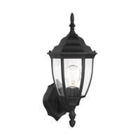 Bakersville 1 Light 15 inch Black Outdoor Wall Lantern in Clear Curved Beveled Glass, Standard