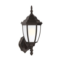 Bakersville 1 Light 15 inch Heirloom Bronze Outdoor Wall Lantern in Satin Etched Glass, Standard, Fluorescent