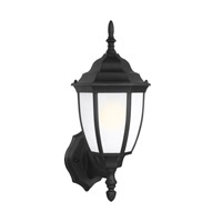 Bakersville 1 Light 15 inch Black Outdoor Wall Lantern in Satin Etched Glass, Energy Efficient, Fluorescent