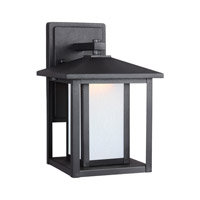 Sea Gull Lighting Hunnington LED Outdoor Wall Lantern in Black with Etched Seeded Glass 8902991S-12