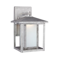 Sea Gull Lighting Hunnington LED Outdoor Wall Lantern in Weathered Pewter with Etched Seeded Glass 8902991S-57