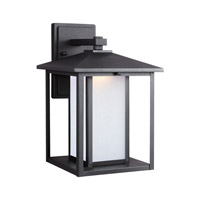 Sea Gull Lighting Hunnington LED Outdoor Wall Lantern in Black with Etched Seeded Glass 8903191S-12