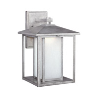 Sea Gull Lighting Hunnington LED Outdoor Wall Lantern in Weathered Pewter with Etched Seeded Glass 8903191S-57