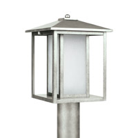 Sea Gull 89129-57 Hunnington 1 Light 15 inch Weathered Pewter Outdoor Post Lantern