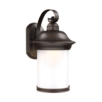 Sea Gull Lighting Hermitage LED Outdoor Wall Lantern in Antique Bronze with Frosted Glass 8919291DS-71