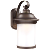 Sea Gull Lighting Hermitage LED Outdoor Wall Lantern in Antique Bronze with Frosted Glass 8919291S-71