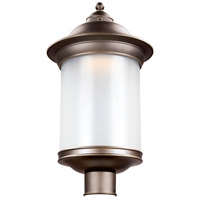 Sea Gull Lighting Hermitage LED Outdoor Post Lantern in Antique Bronze with Frosted Glass 8929891S-71