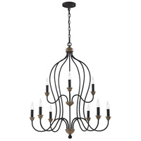 Sea Gull F2999EN/9DWZ/WO Hartsville 9 Light 31 inch Dark Weathered Zinc / Weathered Oak Chandelier Ceiling Light