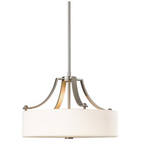 Sea Gull F2404/3BS Sunset Drive 3 Light 19 inch Brushed Steel Chandelier Ceiling Light in Opal Etched Glass, Standard