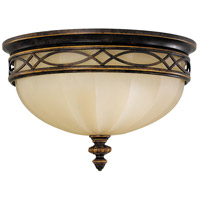 Sea Gull FM261WAL Drawing Room 3 Light 14 inch Walnut Flush Mount Ceiling Light in English Scavo Glass, Standard