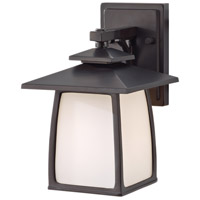 Wright House 1 Light 10 inch Oil Rubbed Bronze Outdoor Wall Sconce in Opal Etched Glass, Standard