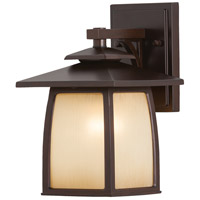 Sea Gull OL8500SBR Wright House 1 Light 11 inch Sorrel Brown Outdoor Wall Sconce in Striated Ivory Glass, Standard