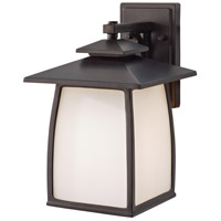 Sea Gull OL8502ORB Wright House 1 Light 14 inch Oil Rubbed Bronze Outdoor Wall Sconce in Opal Etched Glass, Standard