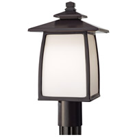 Wright House 1 Light 16 inch Oil Rubbed Bronze Post Lantern in Opal Etched Glass, Standard