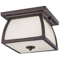 Wright House 2 Light 9 inch Oil Rubbed Bronze Outdoor Flush Mount in Opal Etched Glass, Standard