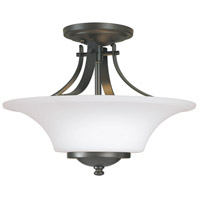 Barrington 2 Light 15 inch Oil Rubbed Bronze Semi Flush Mount Ceiling Light in Opal Etched Glass
