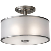 Sea Gull SF251BS Casual Luxury 2 Light 13 inch Brushed Steel Semi Flush Mount Ceiling Light in Silver Organza Fabric, Standard