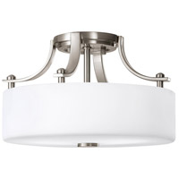 Sunset Drive 2 Light 13 inch Brushed Steel Semi Flush Mount Ceiling Light in Opal Etched Glass, Standard