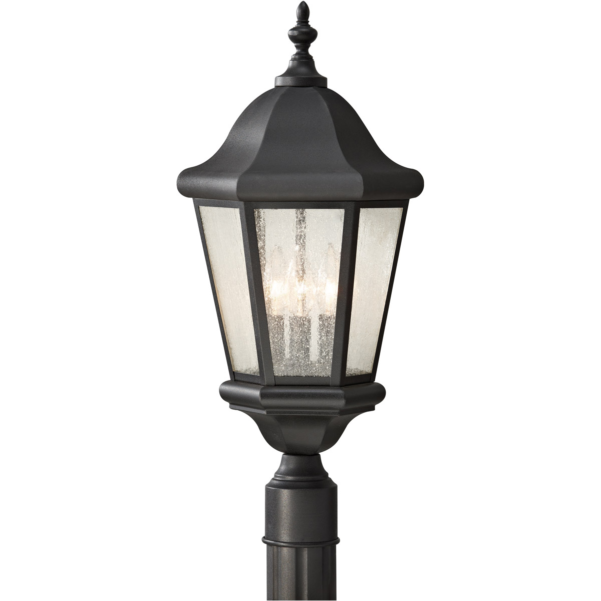 Sea Gull Lighting Three-Light Lancaster Black Post Lantern in Black 8239-12