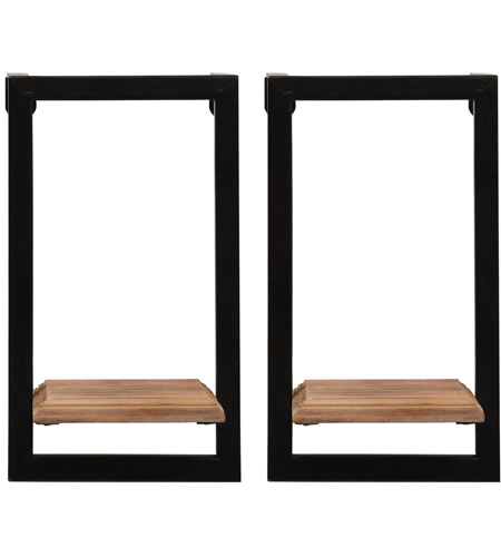 Stratton Home Decor S16070 Signature 6 inch Natural Wood and Black Mini Shelves photo