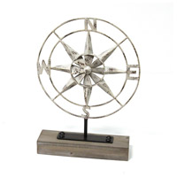 Signature Distressed White and Wood Metal Compass