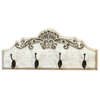 Stratton Home Decor S21045 Signature 10 inch White and Grey and Bronze Coat Rack