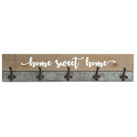 Signature Distressed Wood and Metal and White Hooks