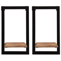 Stratton Home Decor S16070 Signature 6 inch Natural Wood and Black Mini Shelves photo thumbnail