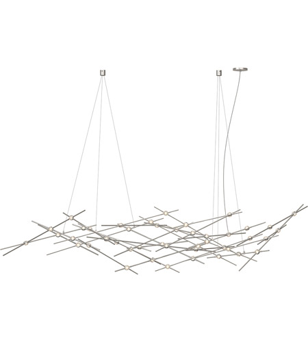 Sonneman 2158 13c Constellation Led 94 Inch Satin Nickel Pendant Ceiling Light In Clear Faceted Photo