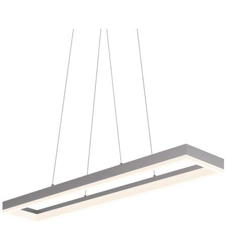 sonneman corona 43 inch led rectangle pendant in bright satin