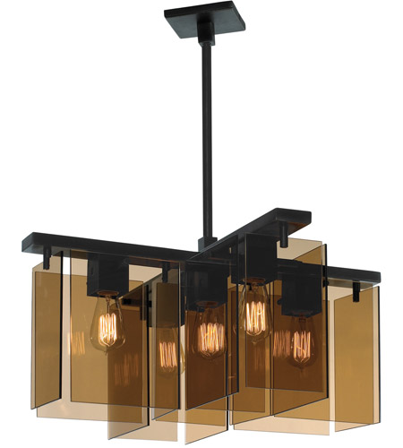 Sonneman Bronze Age 5 Light Pendant in Black Brass 3165.51 photo