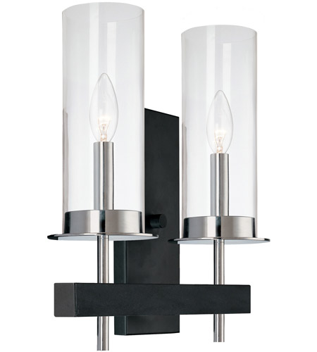 Sonneman 4062.54 Tuxedo 2 Light 11 inch Polished Chrome and Black Sconce Wall Light photo