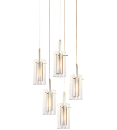 Sonneman Zylinder 5 Light Pendant in Polished Chrome and Satin Black 4397.57 photo