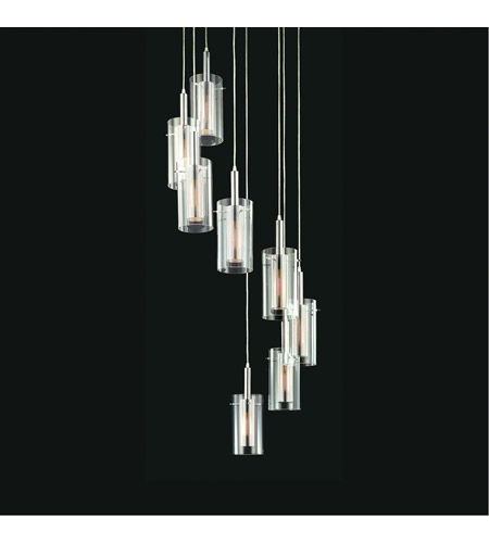 Sonneman 4399.57 Zylinder 8 Light 27 inch Polished Chrome and Satin Black Pendant Ceiling Light photo
