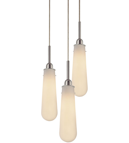 Sonneman 4843.01W Teardrop 3 Light 13 inch Polished Chrome Pendant Ceiling Light in Etched Glass photo