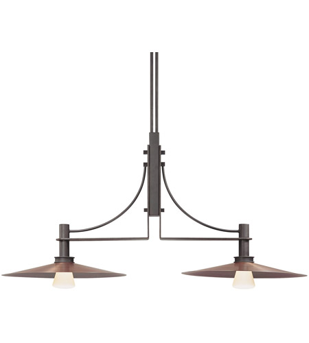 Sonneman Bridge 2 Light Pendant in Textured Rustic Bronze 4902.36 photo