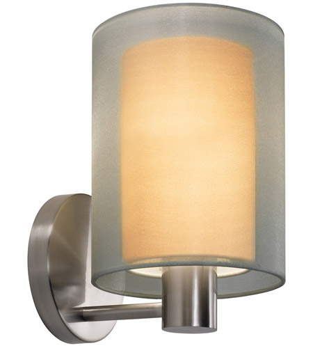 Sonneman 6004.13F Puri 1 Light 6 inch Satin Nickel Sconce Wall Light in Silver Organza photo