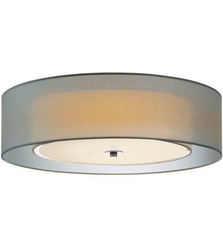 Sonneman 6014 13 Puri 3 Light 22 Inch Satin Nickel Surface Mount Ceiling In Silver Organza