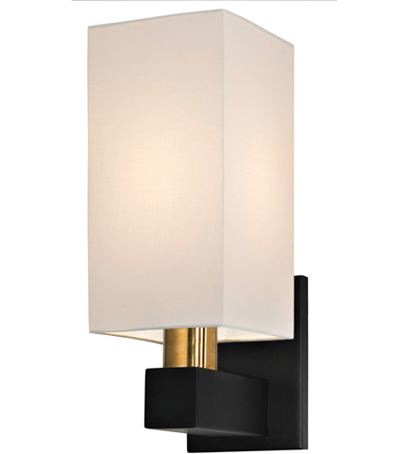 Sonneman 6122.43 Cubo 1 Light 5 inch Natural Brass and Black Sconce Wall Light  photo
